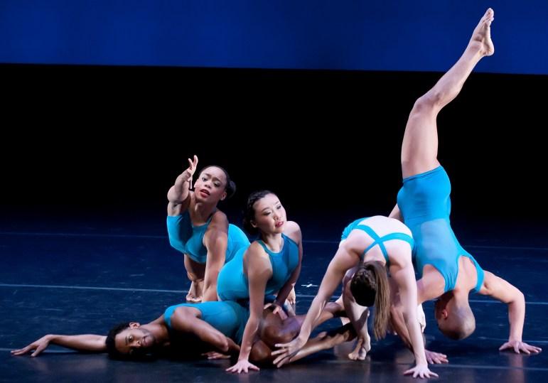 "Members of Carolyn Dorfman Dance perform ""Waves."""