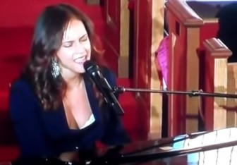 Alicia Keys sings at Whitney Houston's home going service at New Hope Baptist Church in Newark, on 2012.
