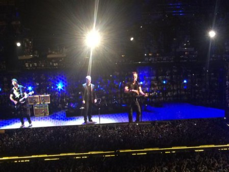A photo of Bruce Springsteen with U2 at Madison Square Garden, tonight, posted on Twitter.