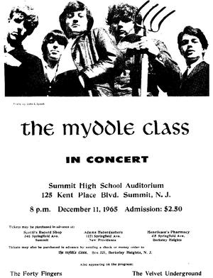 A poster advertising The Myddle Class' 1965 concert at Summit High School. Note the opening act listed in the lower right hand corner.