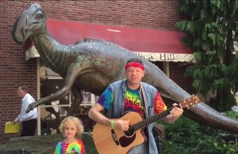 "Jersey Jason and Hoppin' Holly perform ""Jersey Dinosaurs"" in Haddonfield."