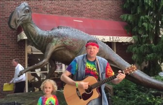 """Jersey Jason and Hoppin' Holly perform """"Jersey Dinosaurs"""" in Haddonfield."""