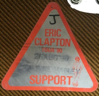 "Mike Lustig's backstage pass for the Eric Clapton concert at Alpine Valley, Wisconsin, on Aug. 26, 1990, after which Stevie Ray Vaughan died. The ""J"" stands for Lustig's band, Janata."