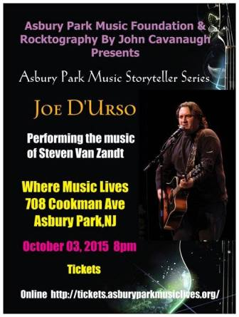 Joe D'Urso will perform Steven Van Zandt songs in Asbury Park, Oct. 3.
