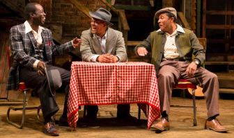 """From left, Charlie Hudson III, Kevin Mambo and Jason Dirden co-star in """"Seven Guitars."""" Dirden also directed the drama, which is at Two River Theater in Red Bank through Oct. 4."""