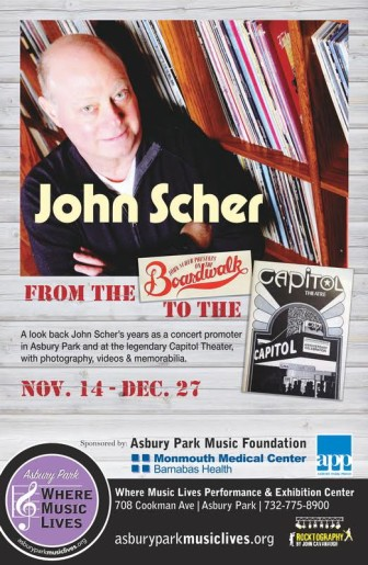 An exhibit on John Scher's work as a concert promoter in Asbury Park and Passaic will open at Where Music Lives in Asbury Park, Nov. 14.