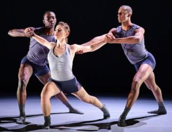 """Ailey II dancers L. Boyd, D. Rogan and J. Pruitt, in """"Something Tangible."""""""