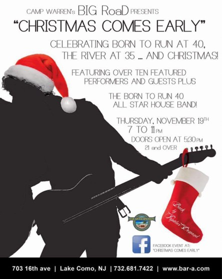 """The """"Christmas Comes Early"""" concert takes place at Bar Anticipation in Lake Como, Nov. 19."""
