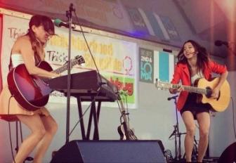Nalani and Sarina onstage.