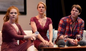 "From left, Alycia M. Kunkle, Suzanne Kimball and Terence MacSweeny co-star in ""Becky Shaw,"" which is at the Sitnik Theater at the Lackland Center in Hackettstown through March 6."
