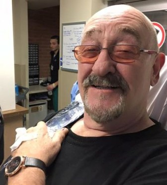 This photo was posted on Dave Mason's Facebook page Saturday morning, along with a message that he is recovering from the flu, after fainting onstage in Morristown, Friday night.
