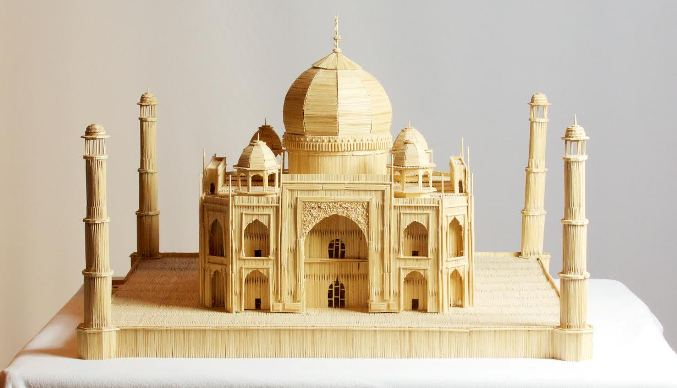 The Taj Mahal, constructed with toothpicks, by Stan Munro.