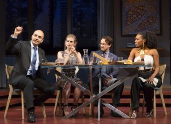 """From left, Maboud Ebrahimzadeh, Caroline Kaplan, Kevin_Isola and_Austene Van co-star in """"Disgraced,"""" which is at the McCarter Theatre Center in Princeton through Oct. 30."""