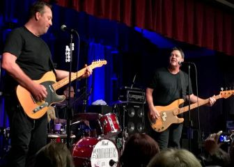 Jim Babjak and Mike Mesaros with drummer Dennis Diken at the Hungerian American Citizens Club.