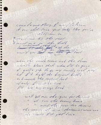springsteen hand-written lyrics