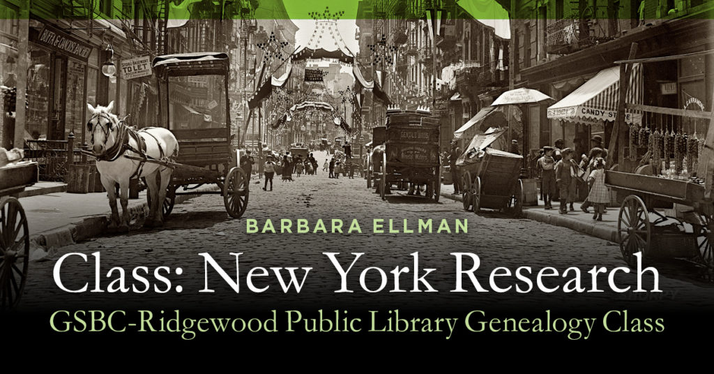 Class: New York Research @ Ridgewood Public Library | Ridgewood | New Jersey | United States