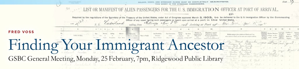 Finding Your Immigrant Ancestor @ Ridgewood Public Library | Ridgewood | New Jersey | United States