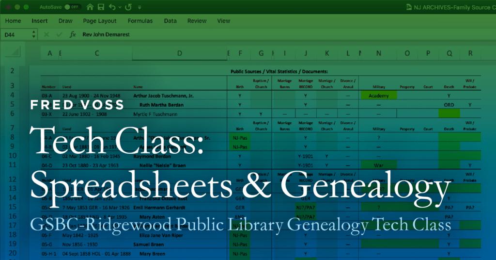 Tech Class: Spreadsheets & Genealogy @ Ridgewood Public Library | Ridgewood | New Jersey | United States