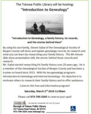 GSBC Speaker: Introduction to Genealogy @ Totowa Public Library