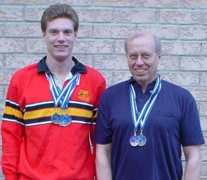 Daniel and Les Lindquist with their provincial Masters Swimming medals