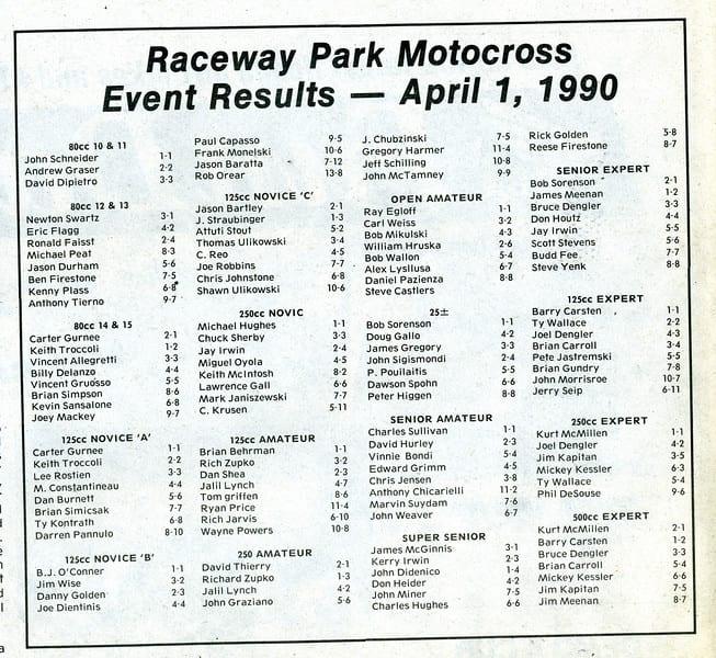 Results Flashback RPMX  4/1/90