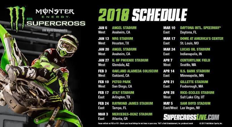 Monster Energy Supercross 2018 Schedule Announced Nj Motocross