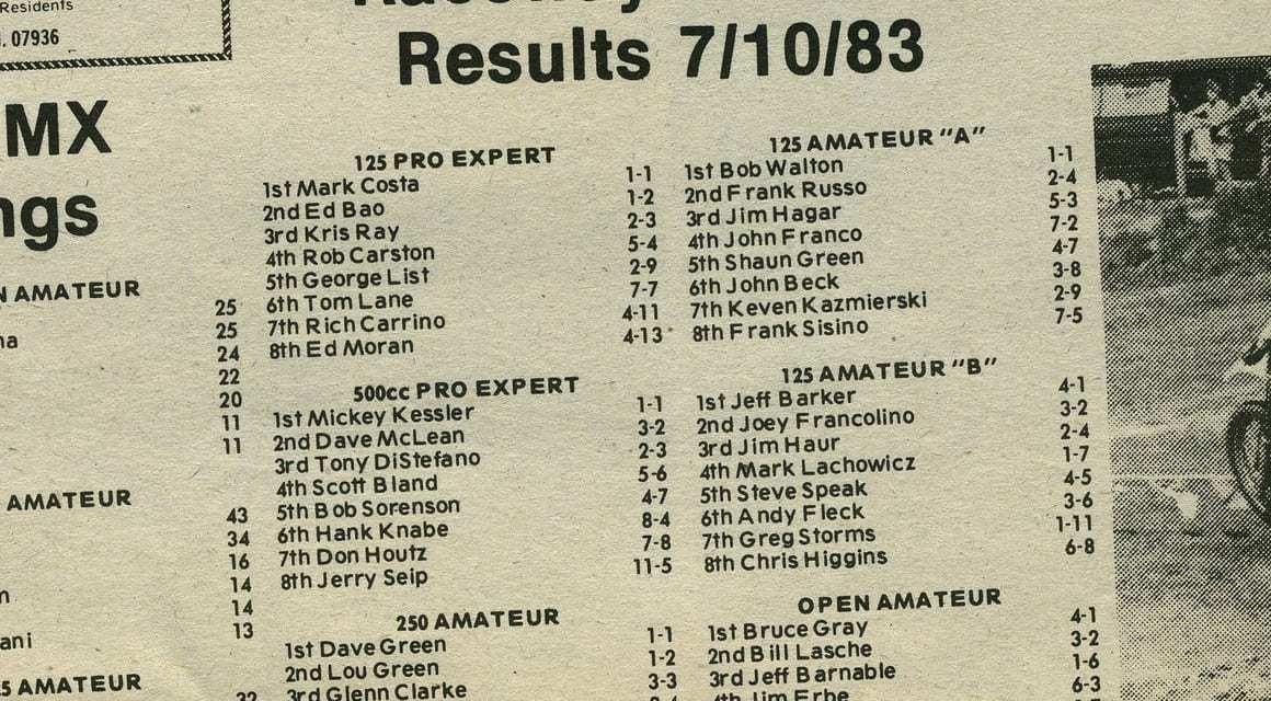 Raceway Park Results 7/10/83