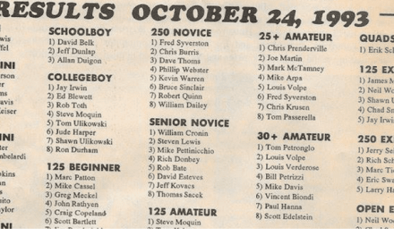 Powerline Park Results 10/24/93