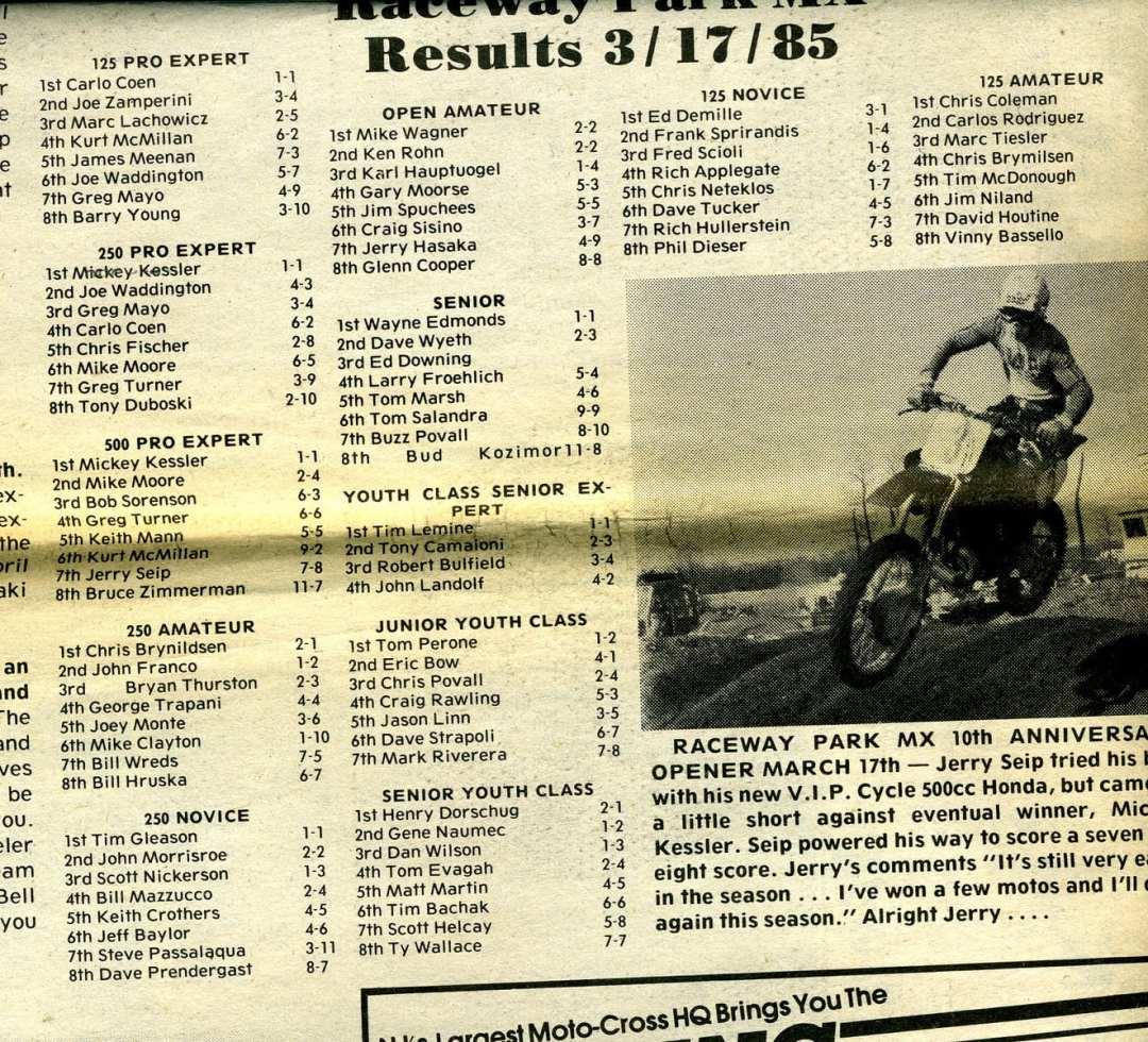 results raceway park 3/17/85
