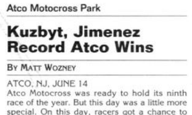 Atco MX Results – 6/14/03