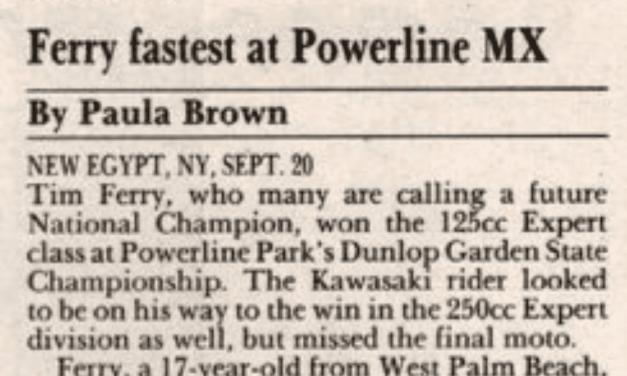 Powerline Park Results – 9/20/92