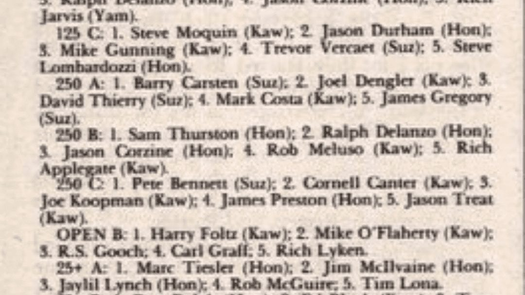 Powerline Park Results from 6/21/92