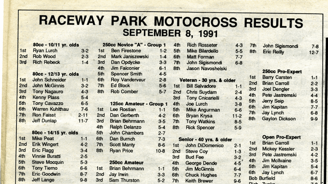 Raceway Park Results from 9/8/91