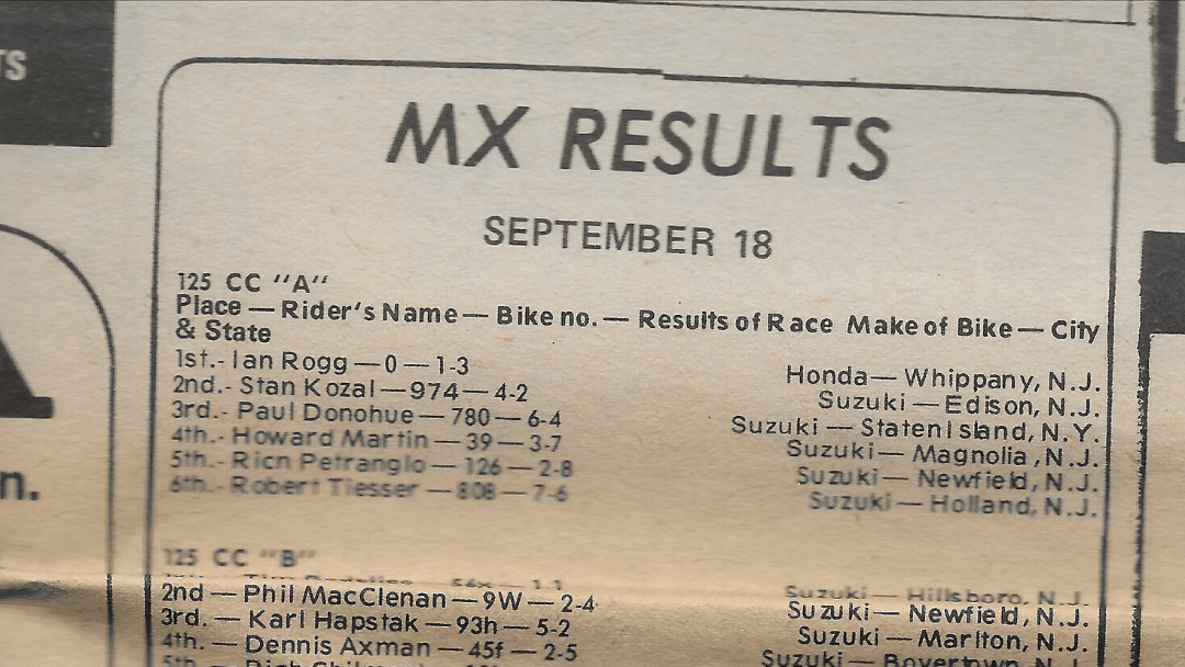 Raceway Park Results from 9/18/77