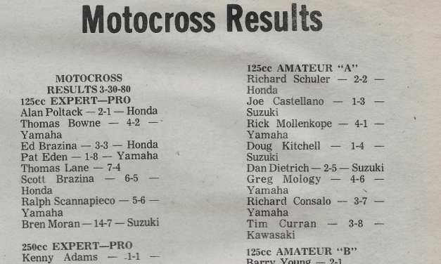 Raceway Park Results from 3/30/80