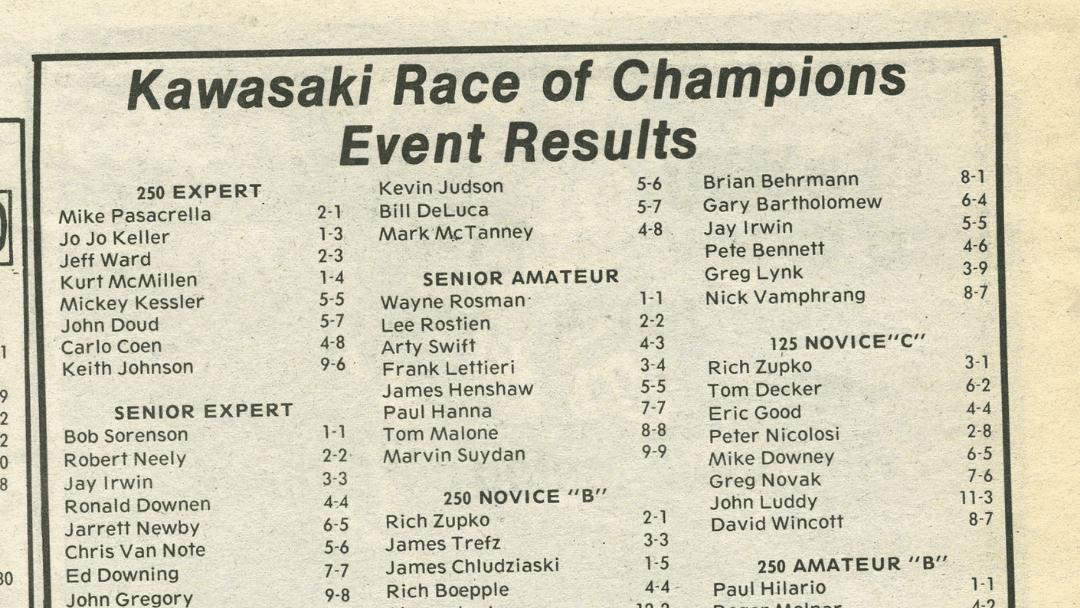 Kawasaki Race of Champions – 1988 Results