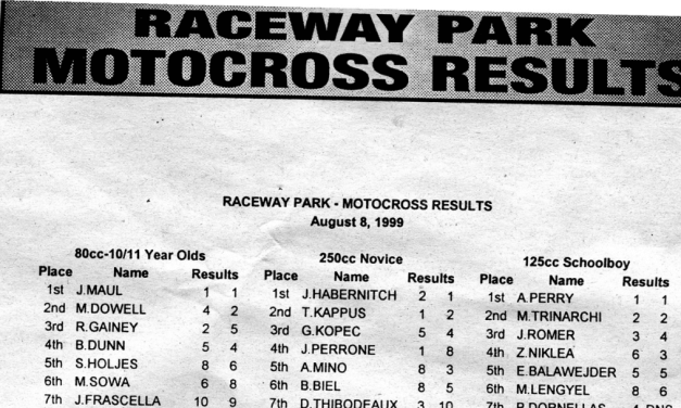 Raceway Park Motocross Results from 8/8/99