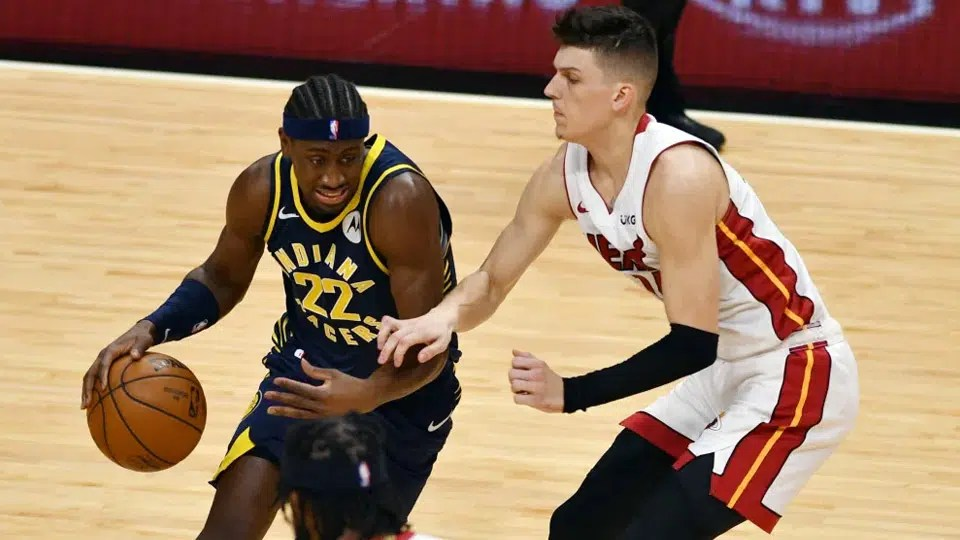 The Indiana Pacers host the Miami Heat in this showdown between teams struggling for an Eastern Conference playoff spot.