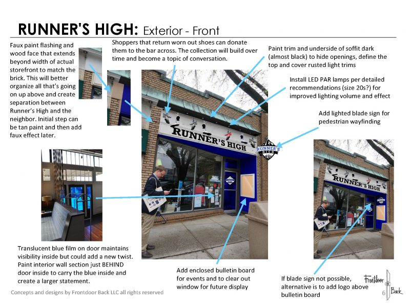 Recommended upgrades for the facade of Runner's High, a participant in MDA's storefront program. Image Credit: Frontdoor Back, LLC