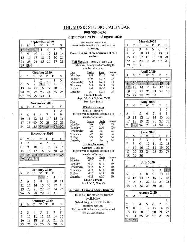 Music  School Calendar