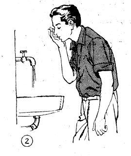 2-Sağ elle, ilkin ağıza, sonra buruna olmak üzere üçer defa su verilir.