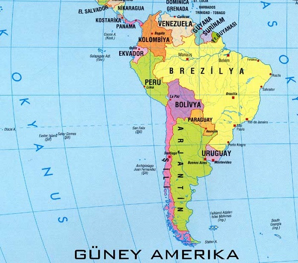 Güney Amerika Siyasi Harita