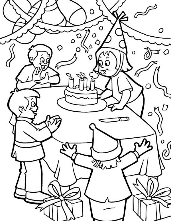 Doğum Günü Boyama Sayfaları