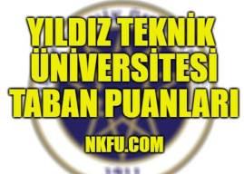 Yıldız Teknik Üniversitesi 4 Yıllık Bölümleri Taban Puanları 2020