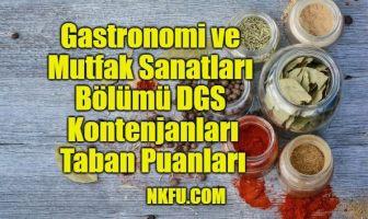 Gastronomi ve Mutfak Sanatları Bölümü DGS