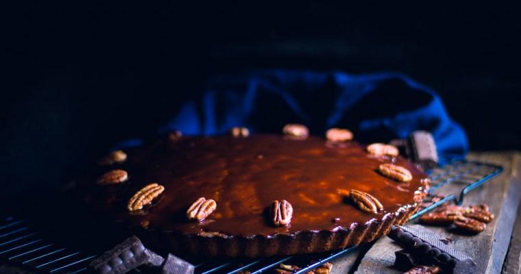 Gerookte chocoladetaart met guinness en pecannoten