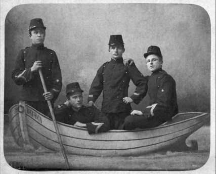Anonymous photographer. Souvenir picture of KNIL soldiers (Royal Netherlands East Indies Army), early 20th century. 'Batavia' was the flagship of the Dutch East India Company. It was built in Amsterdam in 1628. Batavia set sail on her maiden voyage for Batavia, the capital of the Dutch East Indies colony. The ship failed to reach its destination when it wrecked on the Houtman Abrolhos off the coast of Western Australia, killing approximately 40 of its 341 passengers. A mutiny occurred soon after, leading to a massacre among the survivors.