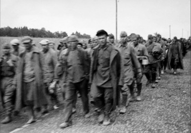 Picture by anonymous German soldier 1940s. Eastern front during WW2. Prisoners of war in the Soviet Union captured by the invading German army.