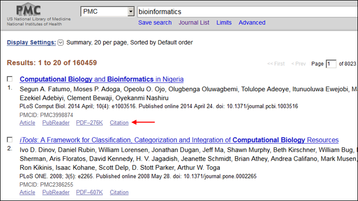 how to get citations from pubmed