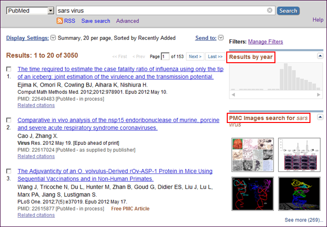 """Screen capture of PubMed results with """"Results by year"""" and """"PMC images search"""" tools"""